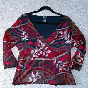 Stretchy scallop blouse Sz XL - red, brown & white